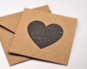 Heart Mini Kraft Cards, Set of 4, Blank Cards, Gift Tag, Enclosure Cards, Favor Cards, Gift Cards, Valentine's Day Card, Business Cards