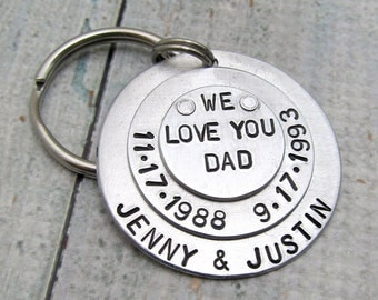 Personalized Keychain - Hand Stamped Key Chain - Dad Keychain - Men's Key Chain - Gift for Dad, Personalized Dad - Layered Key Chain (011)