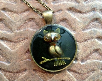 Owl Necklace, Dark Green Resin and antiqued Brass round Pendant,