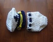 Sea Captain Marine Baby Boy Crochet  Set Hat and Diaper Cover Photography Prop All Sizes from Newborn to Adult