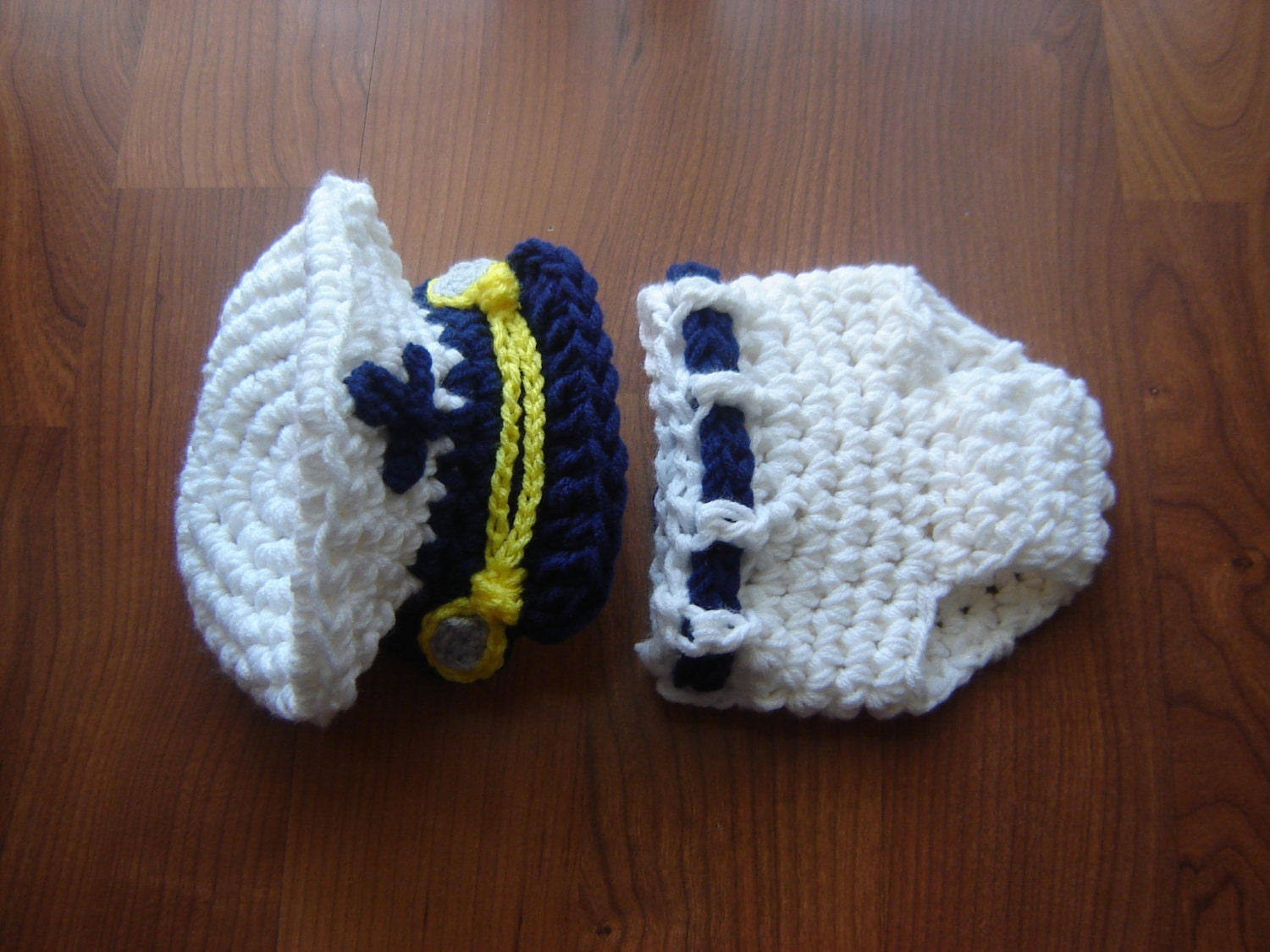Sea Captain Marine Baby Boy Crochet Set Hat And Diaper Cover
