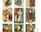 Digital Clipart, Instant Download, Vintage Christmas Card Images--Old World Santa Claus Saint Nicholas--8.5 by 11 Digital Collage Sheet 1352