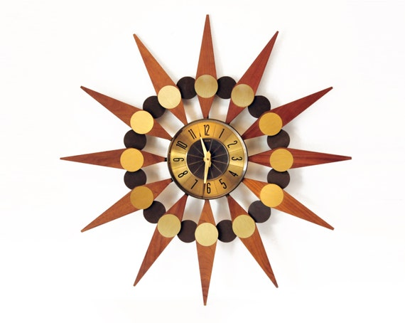 Starburst Clock 24 Mid Century Modern Elgin By Theatomicattic