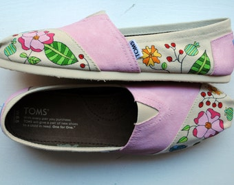 Ready to Ship - Womens Size 8.5 - Pink Flower Garden Hand Painted TOMS, Custom Hand Painted Shoes
