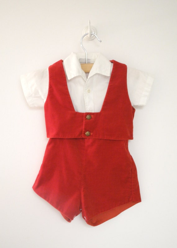 1950's Red Velveteen Romper Set