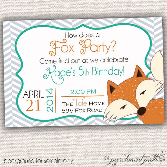 How Does a Fox Party Personalized Birthday by parchmentpath