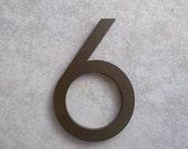 Modern House Number Aluminum Modern Font Number SIX 6 in Bronze