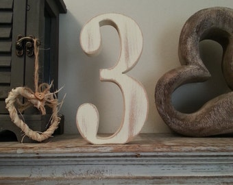 Decorative Freestanding Wedding Table Numbers - Georgian Font - 20cm high - Number 3, various colours and finishes