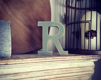 Hand-painted Wooden Letter R - Freestanding - Rockwell Font - Various sizes, finishes and colours