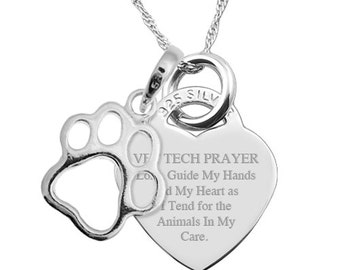 A Vet Tech Prayer Sterling Silver Heart Necklace Personalised/Engraved EY1