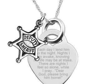 Deputy Sheriff Wife/Partner Prayer with Deputy Sheriff Badge Heart Shaped 925 Sterling Silver