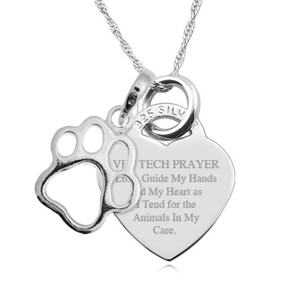 A Vet Tech Prayer Sterling Silver Heart Necklace