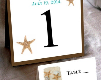 10 Beach Table Numbers and 100 place settings