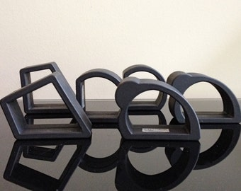 Fiocca Design 1987 Modernist Black Rubber Napkin Rings (set of 6)