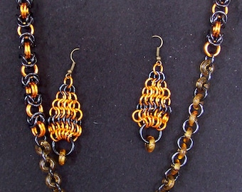 orange and black necklace and earrings set