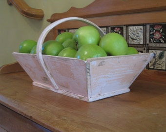 Shabby Wood Basket - Primitive Rustic  In Distressed Pink
