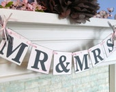 Mr and Mrs Wedding Banner / Wedding Garland / Bride and Groom Photo Prop / Wedding Decorations / Wedding Banners / you Pick the Colors