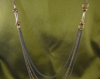 Bone Necklace - Bronze Bones with Gunmetal and Gold Plated Chains