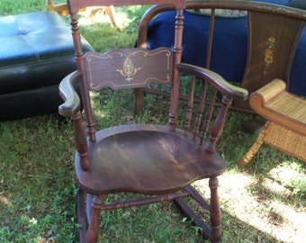 Antique Rocker Primitive Inlaid Shell & Bone Reader Height Arms Ladies Chair Early Century Windsor Stylings Treasure