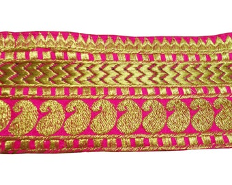 One yard embroidered  royal  maharani trim in pink and gold on dupioni silk
