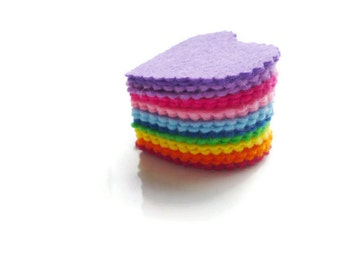 Rainbow Felt hearts pre cut felt shapes for arts and crafts die cut felt hearts