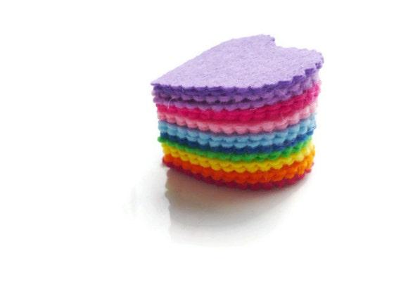 Rainbow felt hearts pre cut felt shapes for arts and crafts for Felt arts and crafts