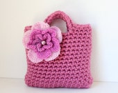 Little Girl's Little Purse in vintage rose shade with flower and beads