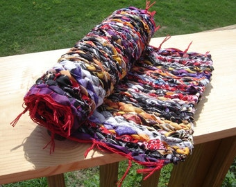 Counter-sized hotpad trivet centerpiece pot holder rug handwoven OOAK Halloween colors bright colors colorful weaving