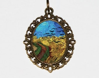 Crow Necklace, Wheat Field, Crows, Black Birds, Van Gogh Jewelry, Bronze Oval Pendant