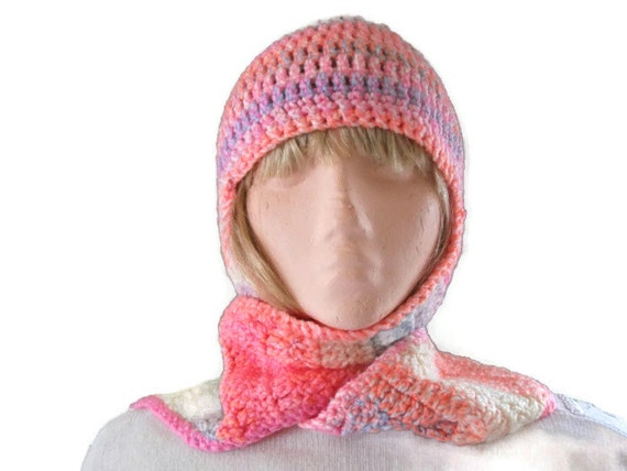 Crochet Pattern Hat Scarf Combo : SALE Crochet Hat & Scarf All in One Combo Rainbow Brights.