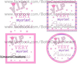 "DIY Printable ""VIP Very Important Princess 2"" Shrinkable Digital Images (JPEG File)"
