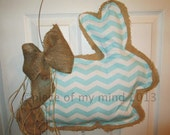 READY TO SHIP Burlap Door Hanger Bunny with Tail with Fabric Overlay Spa Chevron