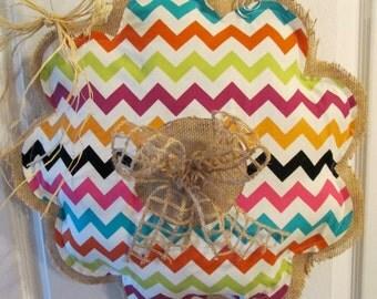 Burlap Chevron Wreath with Bow Burlap Door Hanger