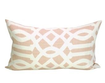 Imperial Trellis lumbar pillow cover in Blush