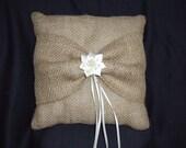 Burlap Burlap Ivory Satin Ring Bearer Pillow Flower Bow Pearls Wedding Bridal