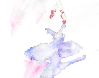 Ballet Painting, Watercolor Ballet Print, Shadows, Prints, Red Shoes, Point Shoes, Shadow, Watercolor Art Print