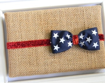 4th of July Headband -Red, White, and Blue Headband, Fourth of July Headband - Navy Blue Bow