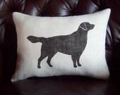 Golden Retriever Pillow - Rustic Burlap Pillow  - Dog Pillow - More Colors Available - Decorative Pillow - Home Decor - Stuffed Pillow