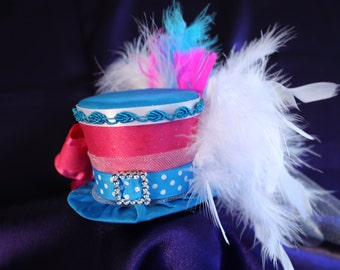 Circus Carnival Mini Top Hat  - Hot Pink and Aqua - Ribbons,Tulle, Feathers - Birthday, Ringmaster