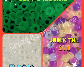 100 beads High Quality NEW UV Solar color change + Glow in Dark Pony Bead fit any Loom Rubber bands School Science Project Big hole beads