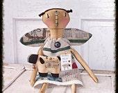 "Primitive Folk Art Key Nose Angel Rag Doll ""Celeste"" Sheep Ornie Raggedy Doll Prims*Gone*Wild"
