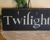 "Primitive ""Twilight"" wood sign - your color choice"