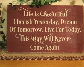 "Primitive ""Life is Beautiful""  wood sign - your color choice"