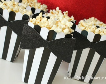 Black & White Striped Popcorn Boxes with Black Glittered Bowtie, Set of 10