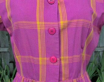 Vintage 70s 50s purple plaid full shirt day dress 10 B37 lucy rockabilly swing secretary