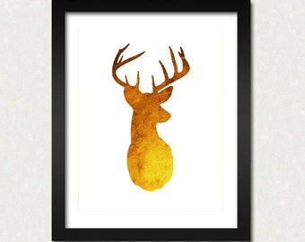 Antler Modern Art Print Antler Deer Poster Wall Art CHOOSE COLOR