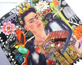 Frida Kahlo Box - Mexican Art - Funky Floral Birds and Monkeys - eclectic altered art - gifts for someone special - OOAK Altered Art