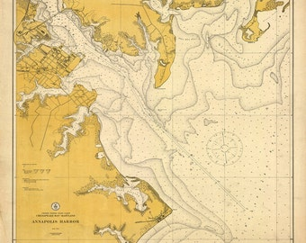 1911 Nautical Chart of Annapolis Harbor