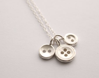 Silver button necklace, button necklace, haberdashery necklace, button jewellery
