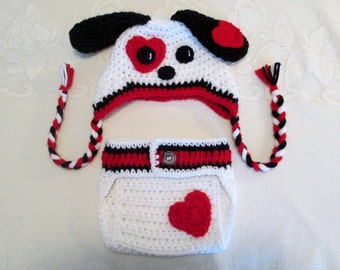Valentine's Puppy Hat and Diaper Cover Photo Prop Set - Available in Newborn, 3 to 6, 6 to 12 and 12 to 24